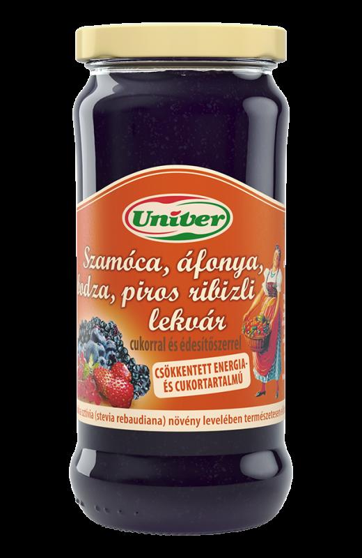 UNIVER Szamóca, áfonya, bodza, piros-ribizli lekvár 280g- Erdbeer, Heidelbeer, Holunder,Johannisbeer