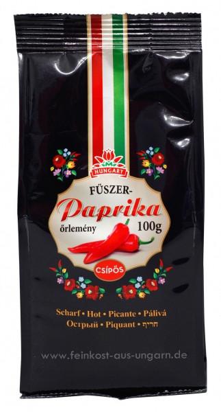 Gemahlener Gewürzpaprika aus Kalocsa im Papierbeutel Scharf 100g