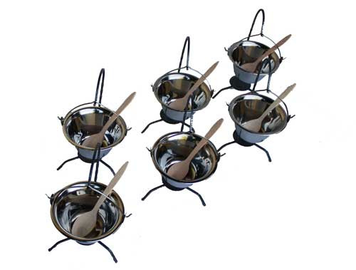 6 Tischkessel aus Edelstahl, 0.8 Liter mit Ständer(Servierkessel)